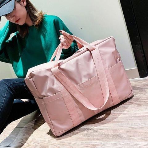 Leisure Oxford Cloth Shoulder Travel Bag Sport Handbag (Pink)