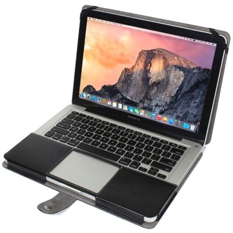 Notebook Leather Case with Snap Fastener for 13.3 inch MacBook Pro(Black)