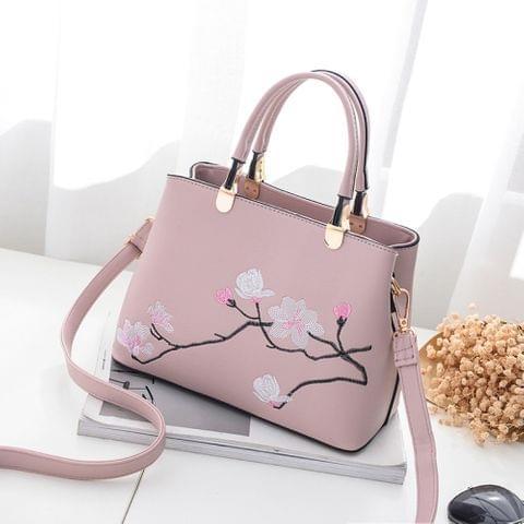 Flower Pattern Leisure Fashion PU Slant Shoulder Bag Handbag(Pink)