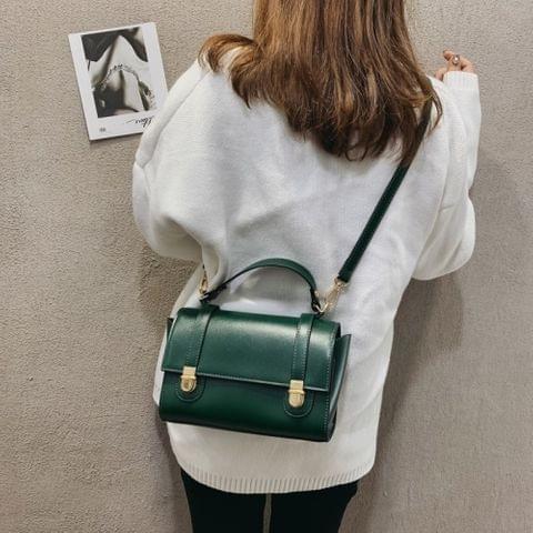 Dual Pressed-buckle PU Leather Single Shoulder Bag Ladies Handbag Messenger Bag (Green)