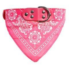 Adjustable Dog Bandana Leather Printed Soft Scarf Collar Neckerchief for Puppy Pet, Size:M(Magenta)