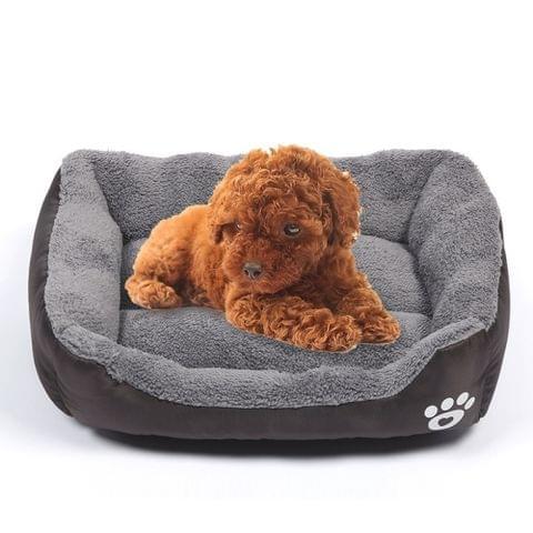 Candy Color Four Seasons Genuine Warm Pet Dog Kennel Mat Teddy Dog Mat, Size: M, 54×42×12cm (Coffee)