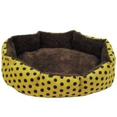 Dot Leopard Printed Beds Mats Sleeping Rug Washable Warm Kennels Bed for Small Dogs Cats, Size:37x32cm(Yellow)