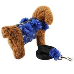 Denim + Canvas + 3D Lace Flowers Soft Breathable Dog Harness Pet Vest Dog Chest Strap , Size: S (Dark Blue)