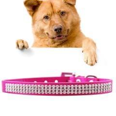 PU Diamond Studded Pet Collar Dog Collar Pet Products, Size: S, 1.5 * 37cm(Magenta)                                               ()