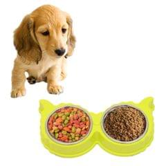 2 in 1 Stainless Steel  Bowls, Anti-slippery Mat Eagle Eyes Shape Detachable Pets Bowls(Light Green)