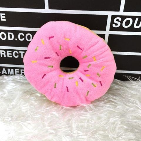 13cm Pet Dog Puppy Cat  Donut Tugging Chew Squeaker Quack Sound Play Toys(Pink)