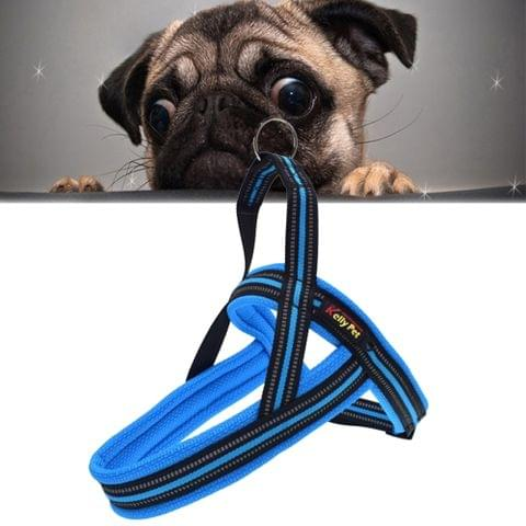 Pet Dogs A7 Reflective Polyester Chest Harness Lead Leash Traction Big Dogs Safety Chain Rope Collar, Size: L, 2.5*68*84cm (Blue)