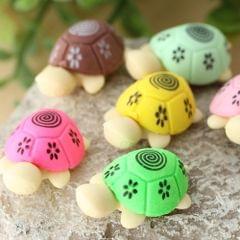 12 PCS Cute Cartoon Turtle Shape Pencil Eraser Set Student Stationery Gift(Random Color Delivery)