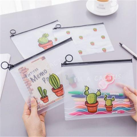 20 PCS Cactus Pattern Small Fresh Transparent Bag Student Stationery Office Supplies, Size: 17.1x21.2cm
