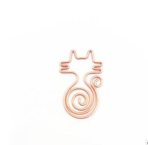 10 PCS Cute Cat Metal Paper Clips Pin Bookmark Memo Clip Office School Stationery(Rose Gold)