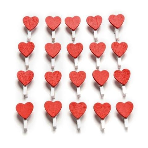 50 PCS Mini Red Heart Love Wooden Photo Paper Peg Pin Clothespin Craft Postcard Clips