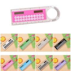 Solar Mini Calculator Magnifier Multifunction 10cm Ultra-thin Ruler Calculadora Office Supplies(Color Random Delivery)