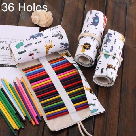 36 Slots Cartoon Animal Print Pen Bag Canvas Pencil Wrap Curtain Roll Up Pencil Case Stationery Pouch