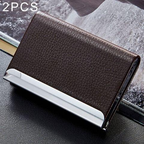 2 PCS Lichi texture Business Card Holder Credit Card ID Case Holder(Coffee)