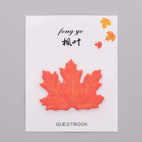2 PCS Cute Tree Leaf Sticky Note Stickers Memo Pad Office Decoration School Supplies Stationery(Maple leaf)
