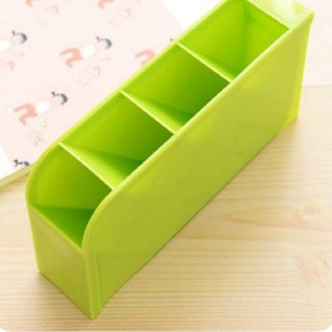 2 PCS Multi-function 4 Grid Desktop Pen Holder Office School Storage Case Plastic Box Desk Pen Pencil Organizer(Green)