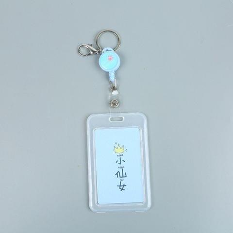 Cute Cartoon Retractable Badge Card Holder Nurse Doctor Exhibition Pull Key ID Name Card Badge Holder(Fairy)
