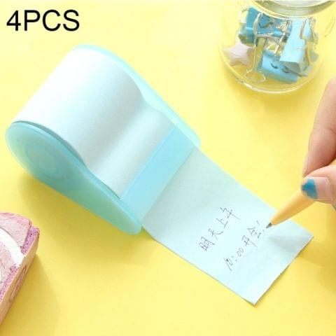 4 PCS Cute Stationery Memo Pads Belt Adhesive Tape Holder Creative Stick Notes Writing Pads, Random Color Delivery