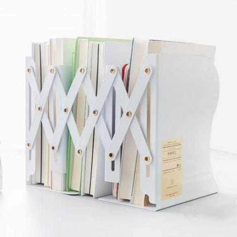 Adjust Bookshelf Large Metal Bookend Desk Holder Stand for Books Gift Stationery(White)