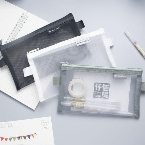 Nylon Simple Transparent Mesh Pencil Case Office School Supplies(Small White)