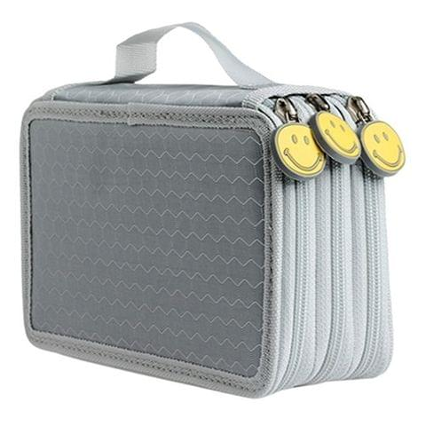72-Hole Suit Smile Face Hand-held Pencil Bag(Grey)