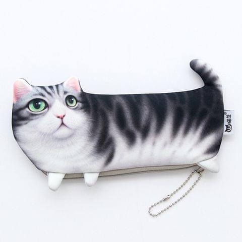 Kawaii Simulation Cartoon Cat Pencil Case Soft Cloth Pen Bag(Gray)
