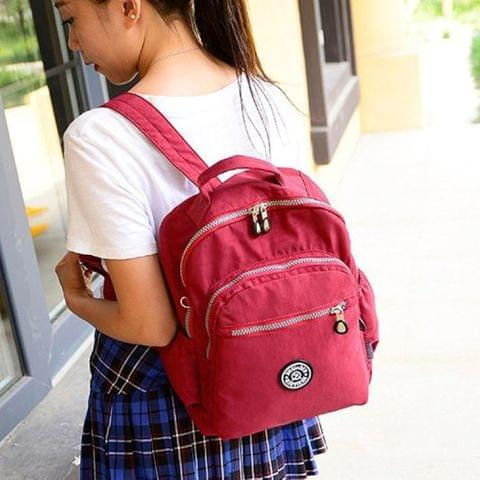 Leisure Fashion Nylon Waterproof Double Shoulders Bag(Rose Red)