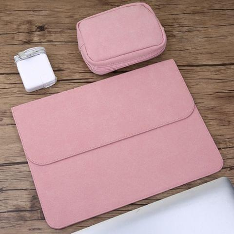 2 in 1 Horizontal Matte Leather Laptop Inner Bag + Power Bag for MacBook Pro 15.4 inch A1398 (2012 - 2015) (Pink)
