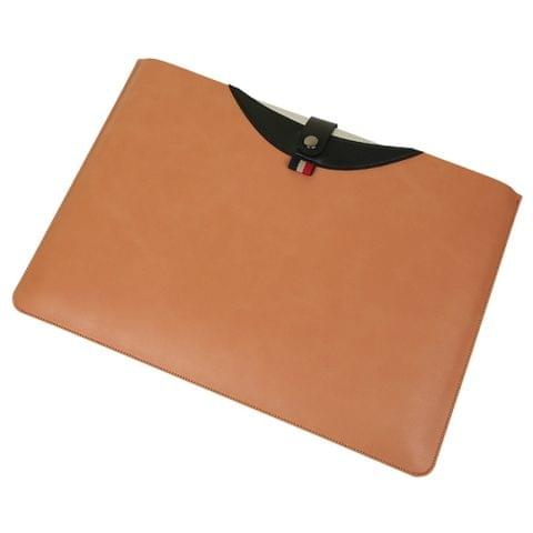 Horizontal Magnetic Buckle Laptop Microfiber Leather Inner Bag for MacBook Pro 15.4 inch(Brown)