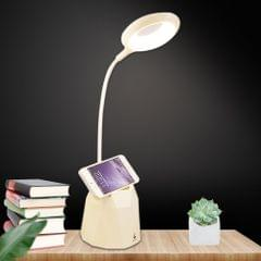 Creative Pen Holder Touch Switch Student Reading Light Eye-protection Small Table Lamp with 3 Gear Dimming, Capacity:4000mAh(White)