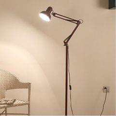 Living Room Hotel Lighting Night Adjustable Floor Lamps Study Reading Bedside Light, AC 110-240V(Wine Red)