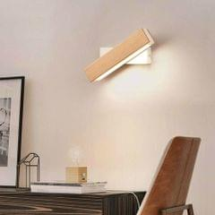 Simple Rotatable Bedside Bedroom Wall Lamp Warm Night Light, Size:31cm(Wood )