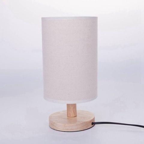 US Plug Modern Wood Linen Bedside Minimalist Table Lamp AC 110V-240V Student Table Lamp Bedroom Indoor Bedside Lamp(White)