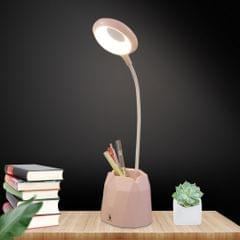 Creative Pen Holder Touch Switch Student Reading Light Eye-protection Small Table Lamp with 3 Gear Dimming, Capacity:2000mAh(Pink)