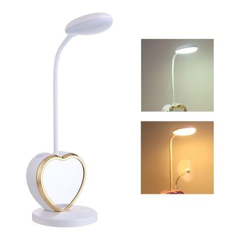 Multifunction USB Charging Touch Switch Student Eye Reading Table Lamp with Mobile Phone Holder & Pen Holder & Mirror(White Gold )