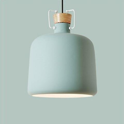 YWXLight Single Head Restaurant Chandelier Modern Minimalist Wooden Chandelier Lamps (Green)