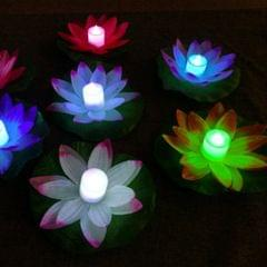 3 Color LED Flood Light Artificial Lotus Floating Flower Shape Lamps For Outdoor Swimming Pool Wishing Party(Pink)