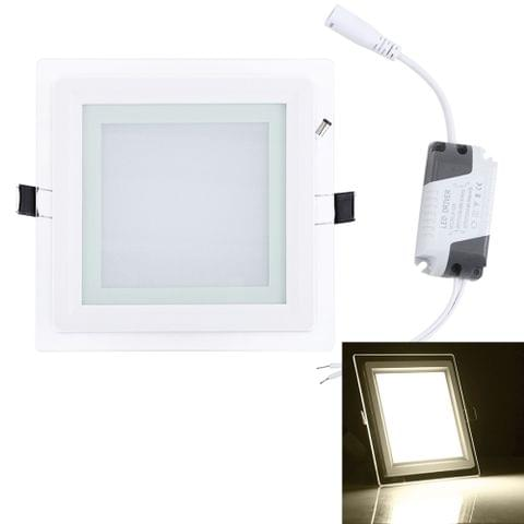 12W 16cm Square Glass Panel Light Lamp with LED Driver