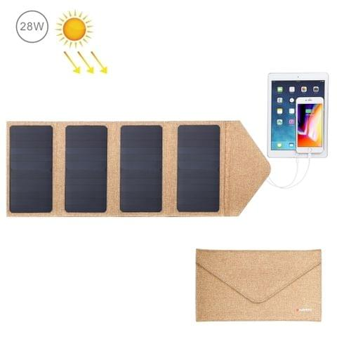 HAWEEL 28W Foldable Solar Panel Charger with 5V 2.9A Max Dual USB Ports(Yellow)                                               ()