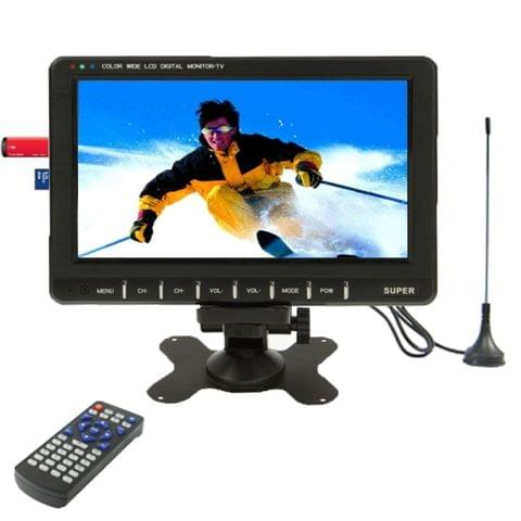 9.8 inch Wide LCD mini monitor/Analog TV with FM Radio, Support SD/MMC Card, USB flash disk(Black)
