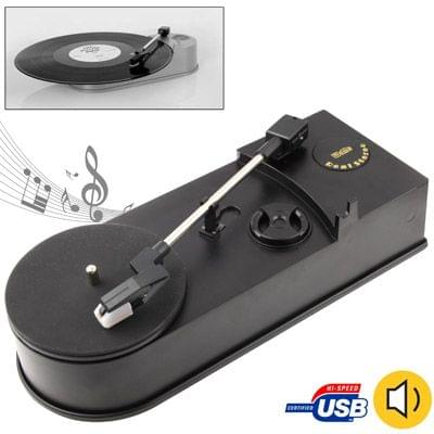 EC008B, USB Mini Phonograph / Turntable / Vinyl Turntables Audio Player, Support Turntable Convert LP Record to CD or MP3 Function(Black)