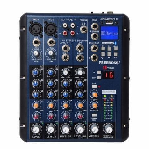 SMR6 Bluetooth USB Record 2 Mono + 2 stereo 6 Channels 3 Band EQ 16 DSP Effect USB Professional Audio Mixer