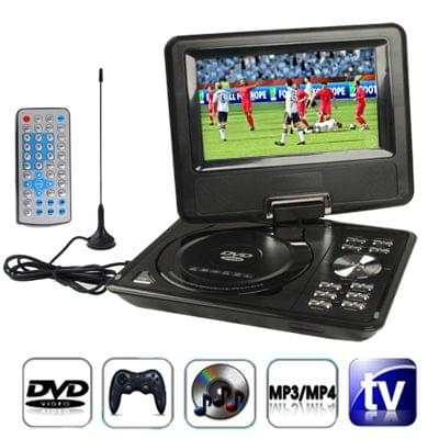 7.5 inch TFT LCD Screen Digital Multimedia Portable DVD with Card Reader & USB Port, Support TV (PAL / NTSC / SECAM) & Game Function, 180 Degree Rotation, Support SD / MS / MMC Card (Black)