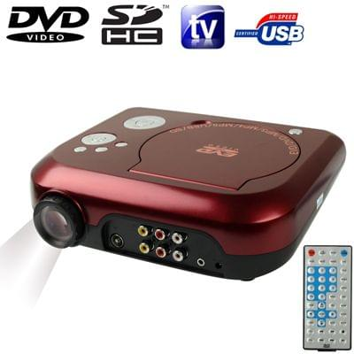 """Home Theater Portable DVD Projector with TV Receiver Function (PAL / NTSC / SECAM), AV IN / OUT and Game Function, Support SD / MMC Card / USB Flash Disk, Projection Image Size: 10""""-80""""(Red)"""