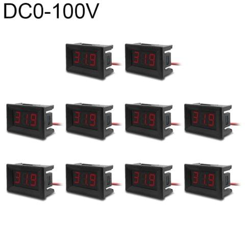 10 PCS 0.36 inch 3 Wires Digital Voltage Meter with Shell, Color Light Display, Measure Voltage: DC 0-100V (Red)