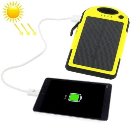 5000mAh Waterproof / Shockproof / Dropproof Emergency Power Solar Charger for iPhone / Galaxy / Sony / HTC / LG(Yellow)