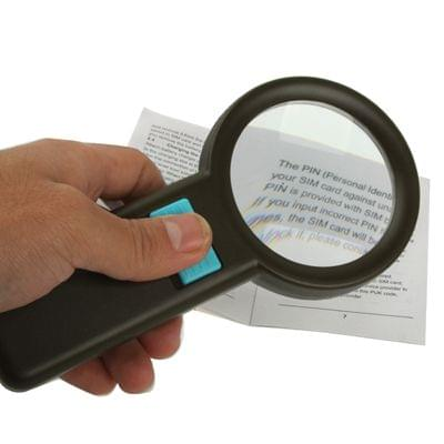3X Zoom Magnifier Glass with 10 LED Light, Lens Effective Diameter: 67mm (Black)