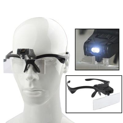 Multi-functional 1.0X / 1.5X / 2.0X / 2.5X / 3.5X Magnifier Glasses with 2-LED Lights, Random Color Delivery