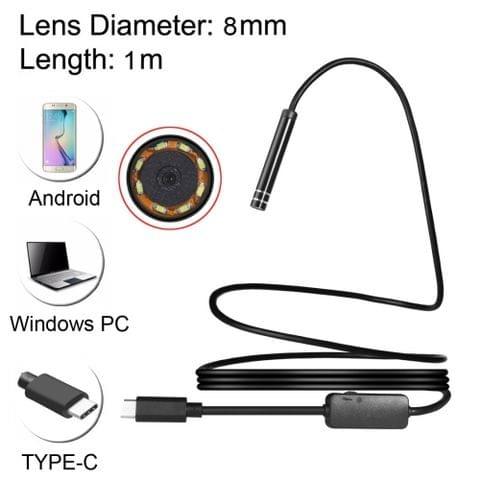 USB-C / Type-C Endoscope Waterproof Snake Tube Inspection Camera with 8 LED & USB Adapter, Length: 1m, Lens Diameter: 8mm                                               ()